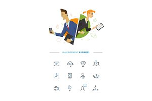 Business male and female user symbol illustration
