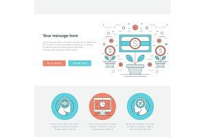 Flat line Business Concept Web Site Header Vector illustration.