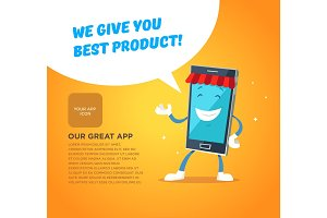 Phone character app market. Concepts for web banners and printed materials.