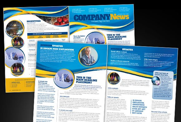 Waves Company Newsletter Templates Creative Market – Company Newsletter