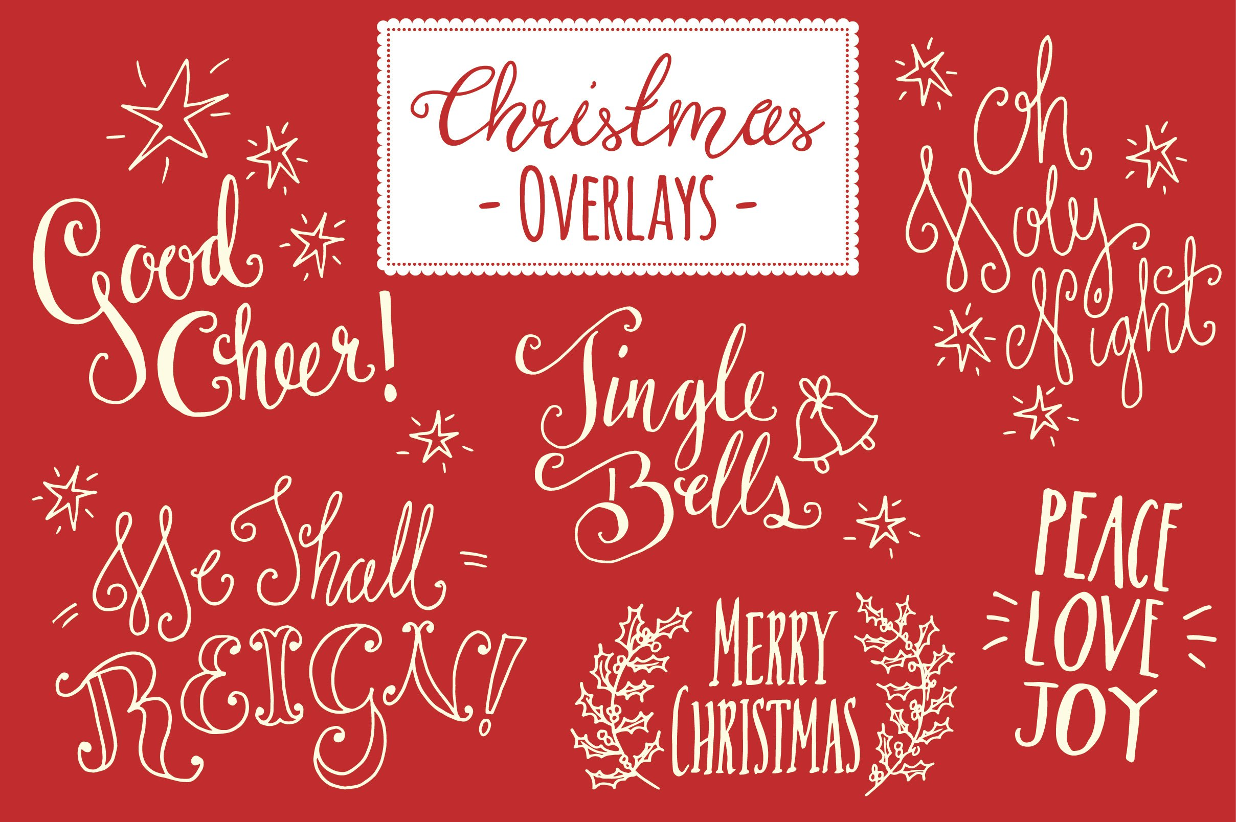 christmas overlays set 5 vector graphics creative market - Christmas Overlays