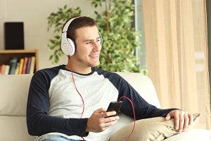 guy listening music
