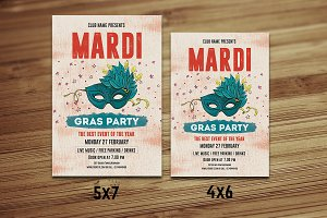 Mardi Gras Party Flyer-V486
