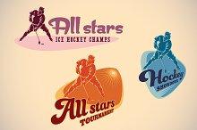 Set of ice hockey tournamet labels