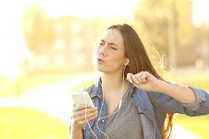 woman listening songs