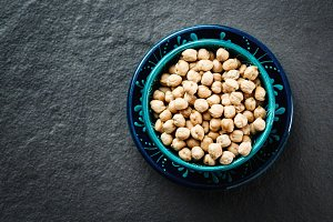 Chick pea in blue authentic bowl
