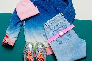 Denim clothing, shoes, fashion