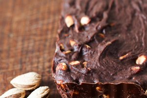 Chocolate dessert with almonds