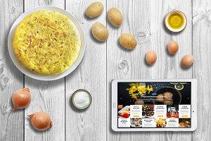 Mockup Creator. Spanish cuisine PSD