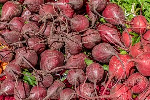 Red beets at the market