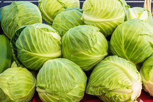 Green cabbage in a display