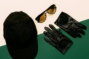 cap, gloves, sunglasses. military