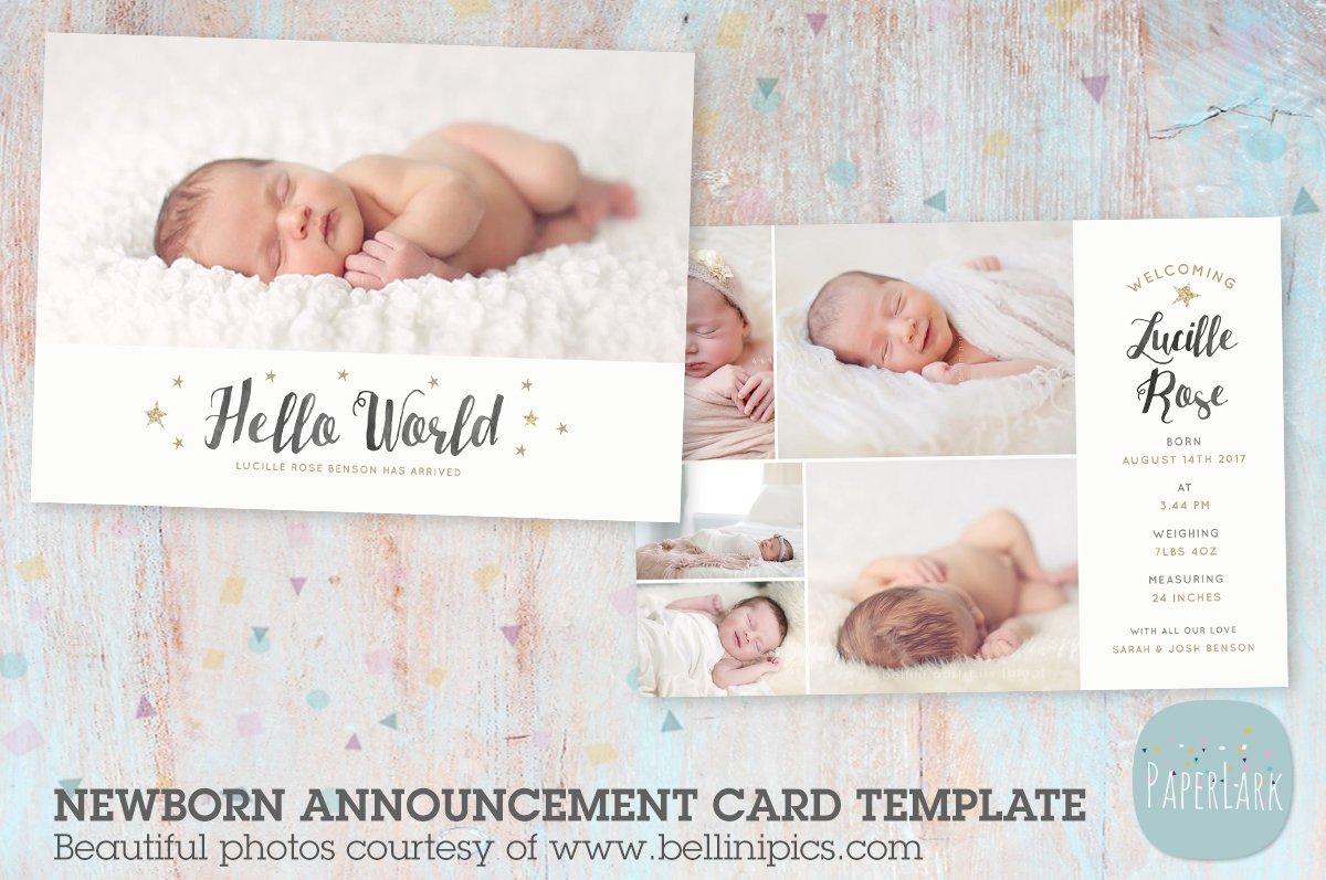 AN015 Newborn Baby Card Announcement ~ Flyer Templates ...