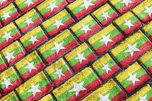 Myanmar Flag Urban Grunge Pattern