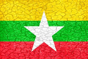 Grunge Style Myanmar National Flag
