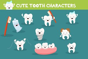 Cute Tooth Characters