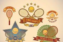 Set of tennis tournamet labels