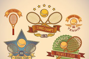 Set of tennis tournamet labels