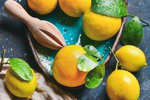 Freshly picked lemons with leaves