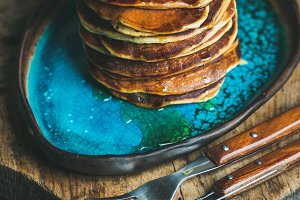 Homemade pancakes with honey