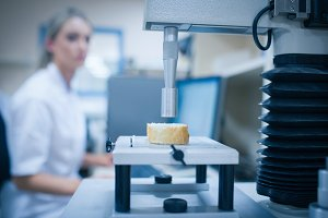 Food scientist using technology to analyse bread