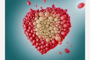 Abstract heart made of spheres.