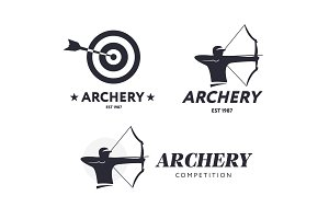 Abstract archery logo. Vector badge concept. Archer with sport bow and target with arrow. Archery competition.