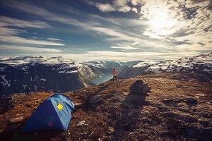Young girl posing in mountain