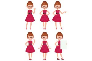 Cartoon woman in different poses
