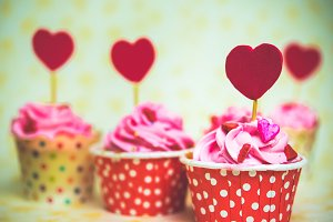 Colorful love cupcake