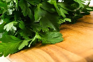 Italian Parsley on cutting board