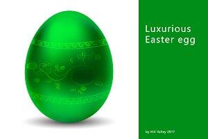 Luxurious metallic green Easter egg