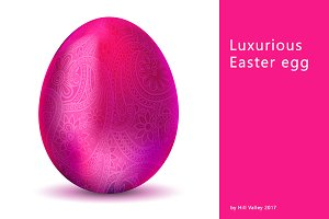 Luxurious metallic pink Easter egg