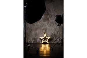 Photography studio with lighting equipment