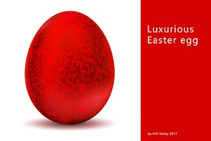 Luxurious metallic red Easter egg