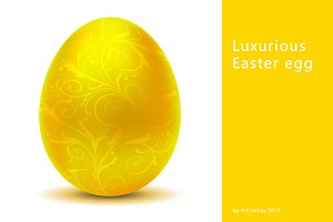 Luxurious metallic yellow Easter egg