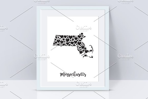 Massachusetts Map With Hearts