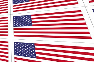 Postcards with United States national flag