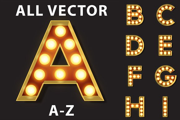 Vector Light Bulb Marquee Letters Objects Creative Market