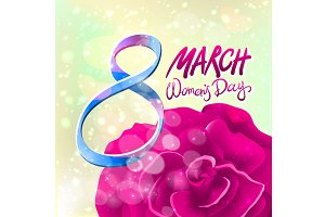 8 March women day, vector rose