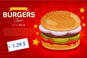 Burger sale banner template.