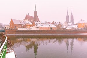 Cathedral Island in winter day, Wroclaw, Poland