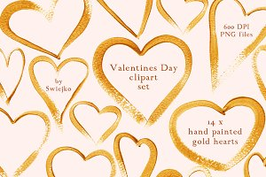 Gold Hearts Valentines Day Clipart
