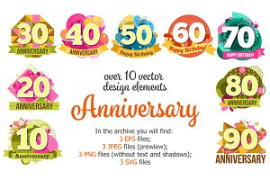 Anniversary Labels Set
