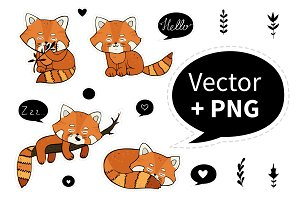 Cute red panda. Vector character.