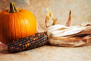 Fall Harvest, Pumpkin & Dried Corn