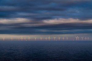 Wind mill farm on the ocean
