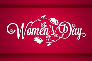Women Day Vintage Lettering Banner.
