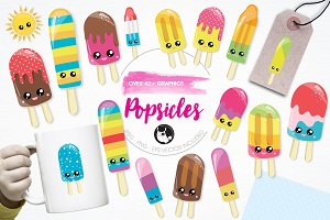 Summer popsicle illustration pack