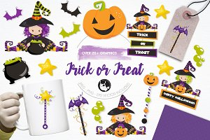 Trick or treat illustration pack